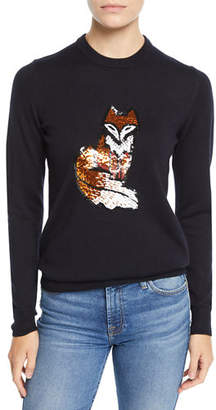 Markus Lupfer Mia Sequin Fox Wool Pullover Sweater