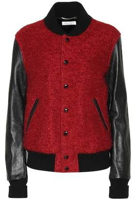 Saint Laurent Wool, mohair and leather varsity jacket