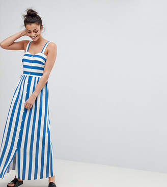 Asos Tall TALL Linen Button Through Maxi Dress in Stripe