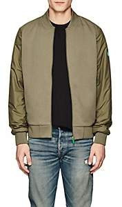 Save The Duck SAVE THE DUCK MEN'S TECH-FABRIC-BACK JERSEY BOMBER JACKET-DK. GREEN SIZE L