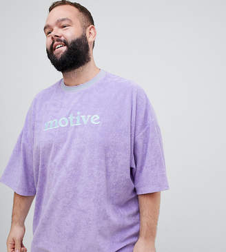 Asos DESIGN Plus oversized t-shirt in towelling with text embroidery and half sleeve