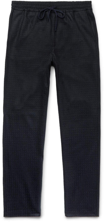 Barena Barena Tapered Checked Wool and Nylon-Blend Drawstring Trousers