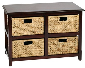 Office Star OSP Designs by Products Seabrook 2 Shelf End Table with 4 Baskets