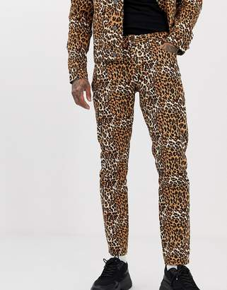 Asos Design DESIGN co-ord slim jeans in leopard print