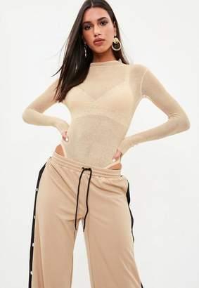 Missguided Cream Sheer High Neck Knit Bodysuit