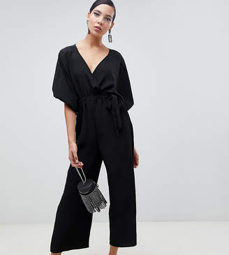Asos Tall DESIGN Tall kimono sleeve jumpsuit with wrap and culotte leg
