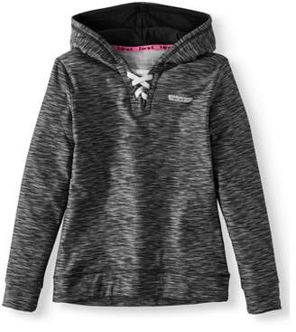Hind Space Dye Lace Up Fleece Active Hoodie (Big Girls)