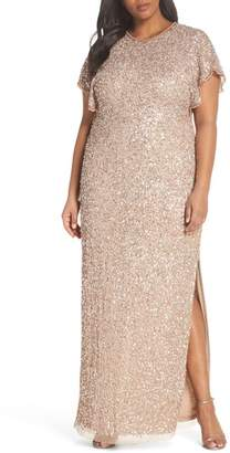 Adrianna Papell Flutter Sleeve Beaded Sequin Gown