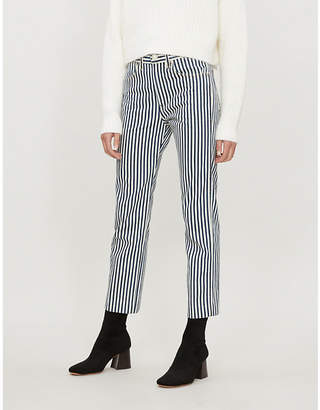 Rag & Bone Striped relaxed-fit mid-rise cotton-canvas trousers
