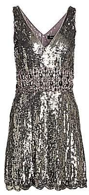 Jenny Packham Women's Sleeveless V-Neck Sequin Fit-&-Flare Dress