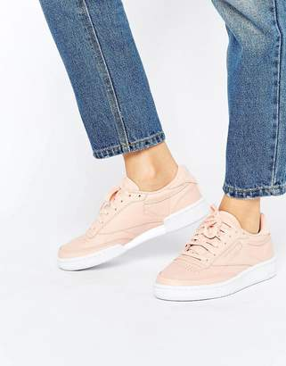 Reebok Club C Sneakers In Nude $98 thestylecure.com