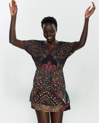 Desigual Black Gina Printed V-Neck Mini Dress