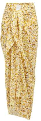Marios Schwab On The Island By Pareo Floral Print Cotton Voile Sarong - Womens - Yellow