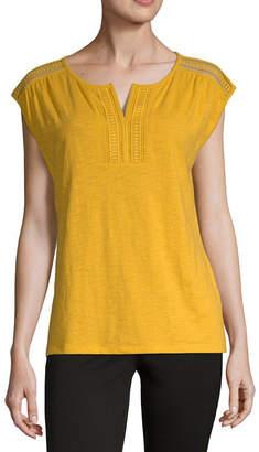 Liz Claiborne Indian Sunset Womens Split Crew Neck Short Sleeve Knit Blouse