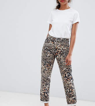 Asos DESIGN Petite Ritson rigid mom jeans in abstract leopard print