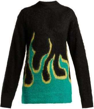 Prada Flame intarsia-knit mohair-blend sweater