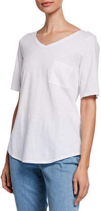 Eileen Fisher Organic Cotton V-Neck Elbow-Sleeve Slub Jersey Tee