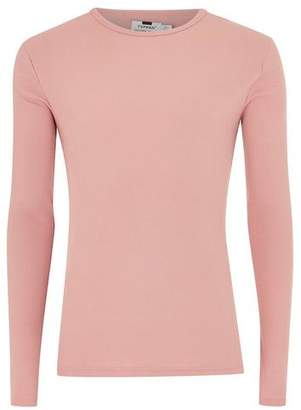 Topman Mens Pink Muscle Fit Ribbed T-Shirt