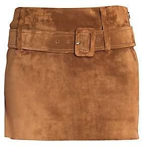 Prada Women's Suede Belted Mini Skirt