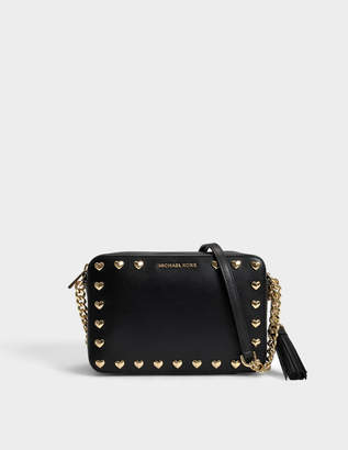 MICHAEL Michael Kors Ginny Love Heart Studs Medium Camera Bag in Black Polished Leather