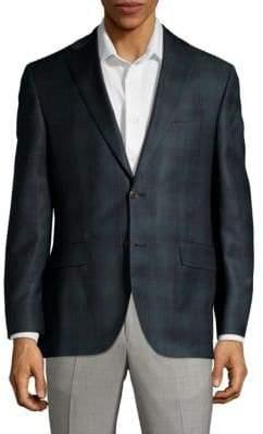 Jack Victor Classic Fit Tonal Plaid Wool Suit Jacket