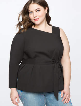 Asymmetric One Shoulder Belted Top