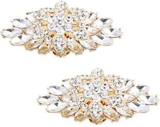 ElegantPark BD 2 Pcs Shoe Clips Double Layers Rhinestones Wedding Party Decoration