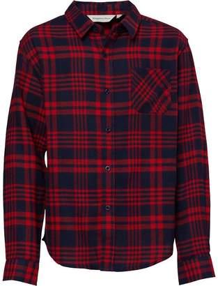 Kangaroo Poo Boys Long Sleeve Flannel Checked Shirt Red/Navy