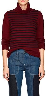 Barneys New York Women's Striped Cashmere Turtleneck Sweater - Navy