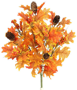 Three Posts 9 Stems Artificial Maple Leaves, Pine Cones and Berries Foliage Bush for Home, Fall Wedding, Halloween or Thanksgiving Floral Arrangement Flower