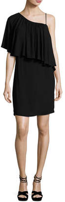 Ella Moss One-Shoulder Popover Mini Dress, Black