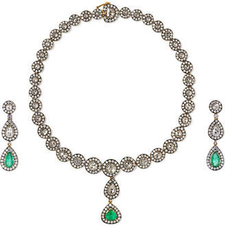 Amrapali 18-karat Gold, Sterling Silver, Diamond And Emerald Necklace And Earrings Set - one size