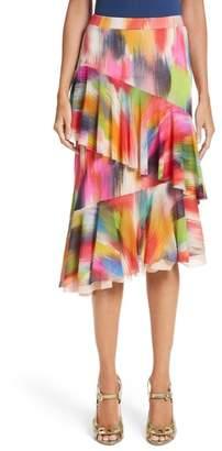 Fuzzi Ruffle Print Tulle Midi Skirt