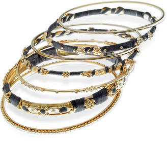 GUESS Gold-Tone 7-Pc. Set Stone, Bead & Thread-Wrapped Bangle Bracelets