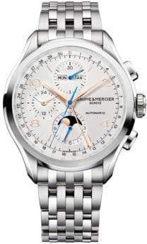 Baume & Mercier Clifton 10279 Chronograph& Complete Calendar Steel Bracelet Watch