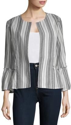 August Silk Women's Open Front Long-Sleeve Cotton Jacket