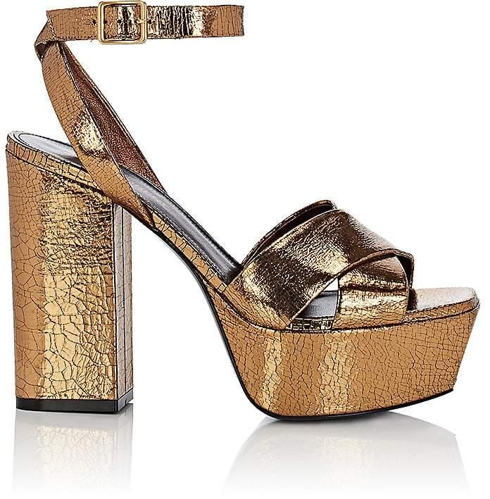 Saint Laurent Women's Craquelé Leather Platform Sandals