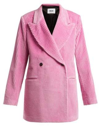 MSGM Double Breasted Cotton Corduroy Blazer - Womens - Pink