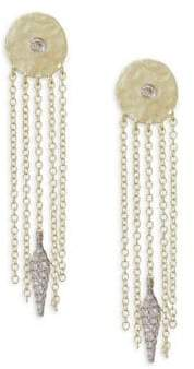 Meira T Diamond Disc Chain Fringe Earrings