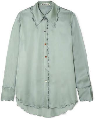 Acne Studios Ruffled Satin Shirt - Mint