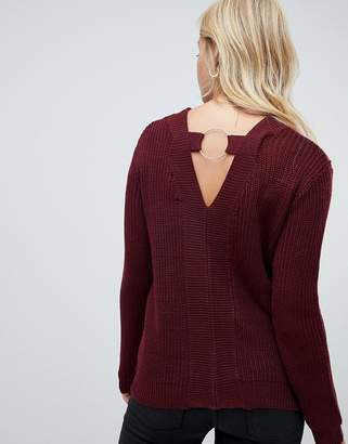 Brave Soul Lord Sweater with Metal Ring Back Detail