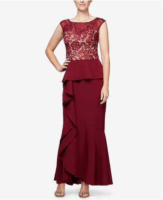 Alex Evenings Ruffled Lace-Contrast Gown