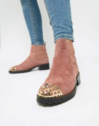 Sofie Schnoor pink suede boots with hardware detailing