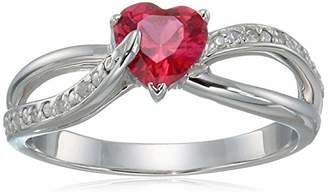 Women's Sterling Silver Created Ruby and Diamond-Accent Heart Infinity Ring