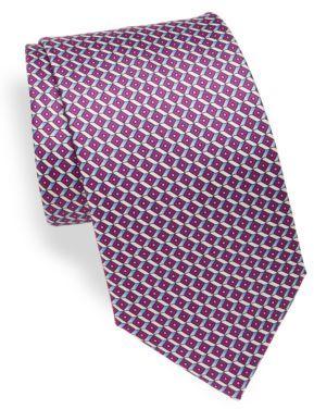 BrioniAbstract Geometric Print Silk Tie