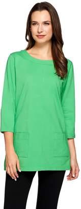 Denim & Co. Active Jersey Scoop Neck 3/4 Sleeve Tunic