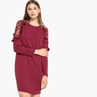 Best Mountain Round Neck Dress with Ruffles and Lace at the Shoulders