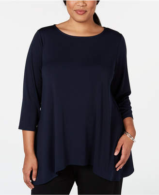 Alfani Plus Size 3/4-Sleeve Swing Top
