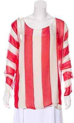 Prada Stripe Long Sleeve Silk Blouse