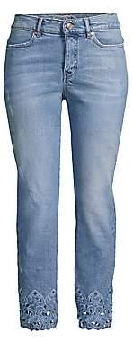 Escada Sport Women's J106 Broidery Anglaise Trim Crop Jeans